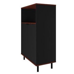 Manhattan Comfort Mosholu Accent Cabinet - 26.57-in x 40.78-in - Black/Nut Brown