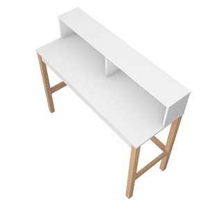 Manhattan Comfort Bowery Desk - 47.24-in - White and Oak