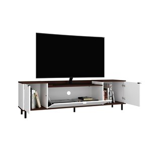 Manhattan Comfort Mosholu TV Stand - 77.04-in x 19.29-in - White/Nut Brown
