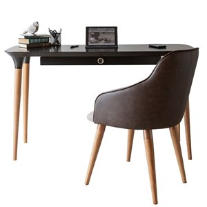 Manhattan Comfort HomeDock and Martha Office Desk with Chair - 53.14-in - Black and Brown - 2-Piece