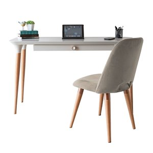 Manhattan Comfort HomeDock and Selina Office Desk with Chair - 53.14-in - Off-White and Beige - 2-Piece