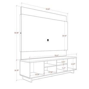 Manhattan Comfort Brill TV Stand - 71.06-in x 69.17-in - Off-White/Cinnamon Brown