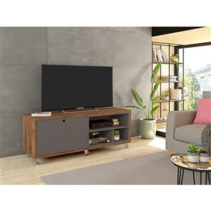 Manhattan Comfort Windsor TV Stand - 53.62-in x 21.65-in - Grey/Natural