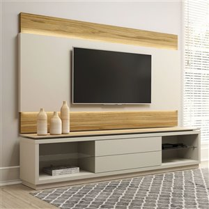 Manhattan Comfort Lincoln TV Stand - 85.43-in x 74.96-in - Off-White/Cinnamon Brown