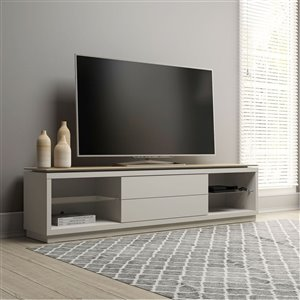 Manhattan Comfort Lincoln TV Stand - 85.43-in x 21.73-in - Off-White/Cinnamon Brown
