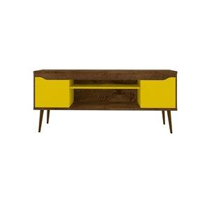 Manhattan Comfort Bradley TV Stand - 62.99-in x 26.57-in - Rustic Brown/Yellow