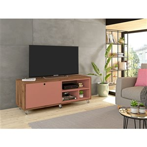 Manhattan Comfort Windsor TV Stand - 53.62-in x 21.65-in - Pink/Natural