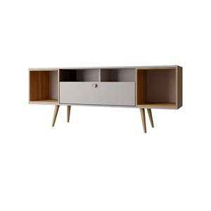 Manhattan Comfort Theodore TV Stand - 62.99-in x 24.65-in - Off-White/Cinnamon Brown