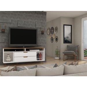 Manhattan Comfort Rockefeller TV Stand - 62.99-in x 26.77-in - Off-White/Natural