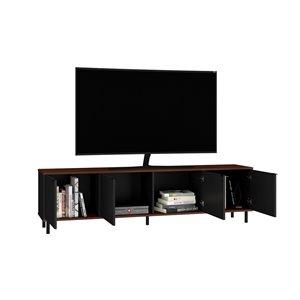 Manhattan Comfort Mosholu TV Stand - 77.04-in x 19.29-in - Black/Nut Brown