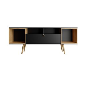 Manhattan Comfort Theodore TV Stand - 62.99-in x 24.65-in - Black/Cinnamon Brown