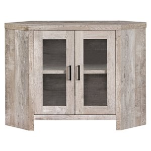 Monarch Corner TV Stand with 2-Shelve - Taupe Reclaimed Wood-Look Corner - 42-in