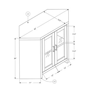 Monarch Corner TV Stand with 2-Shelve - Black Reclaimed Wood-Look Corner - 42-in