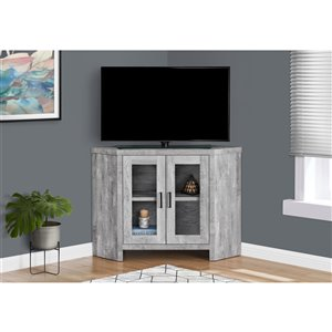 Monarch Corner TV Stand with 2-Shelve - Grey Reclaimed Wood-Look Corner - 42-in
