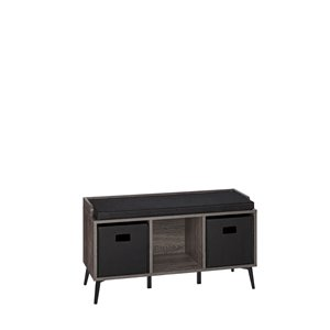 RiverRidge Home Woodbury Storage Bench with Cubbies/2 Bins - 34.88-in x 19-in - Dark Weathered Wood Grain/Black Bins