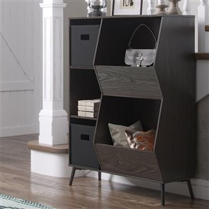 RiverRidge Home Woodbury Storage Cabinet with Cubbies/Veggie Bins - 41.56-in - Dark Weathered Wood Grain/Black Bins