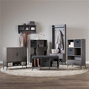RiverRidge Home Woodbury Storage Cabinet with Cubbies/Drawer - 41.25-in - Dark Weathered Wood Grain/Black Bins