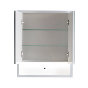 Lukx® Modo Alex Medicine Cabinet with LED light - 24-in x 6-in x 29-in - Gloss White