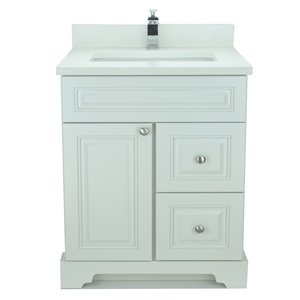 Lukx® Bold Damian Vanity With Silk White Quartz countertop - Left Side Drawer - 30-in - Antique White