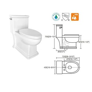 Lukx® Egg-Shaped One Piece Toilet