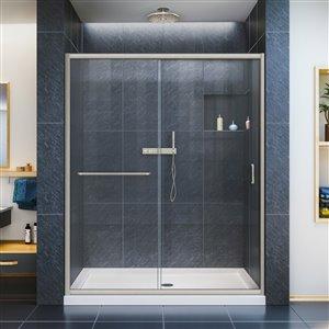 DreamLine Infinity-Z 36-in D x 60-in W x 74-3/4-in H Semi-Frameless Sliding Shower Door and SlimLine Shower Base Kit, Clear Glass