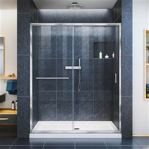 DreamLine Infinity-Z 32-in D x 60-in W x 74-3/4-in H Semi-Frameless Sliding Shower Door and SlimLine Shower Base Kit, Clear Glass