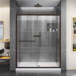 DreamLine Infinity-Z 32-in D x 60-in W x 74-3/4-in H Semi-Frameless Sliding Shower Door and SlimLine Shower Base Kit, Clear Glass