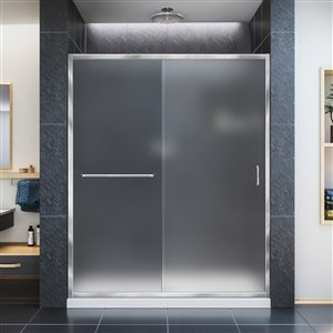 DreamLine Infinity-Z 32-in D x 60-in W x 74-3/4-in H Semi-Frameless Sliding Shower Door and SlimLine Shower Base Kit, Frosted Glass