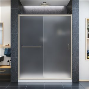 DreamLine Infinity-Z 32-in D x 60-in W x 74-3/4-in H Semi-Frameless Sliding Shower Door and SlimLine Shower Base Kit, Frosted Glass