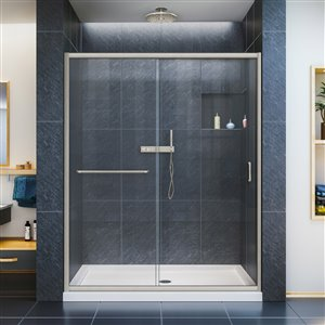 DreamLine Infinity-Z 34-in D x 60-in W x 74-3/4-in H Semi-Frameless Sliding Shower Door and SlimLine Shower Base Kit, Clear Glass