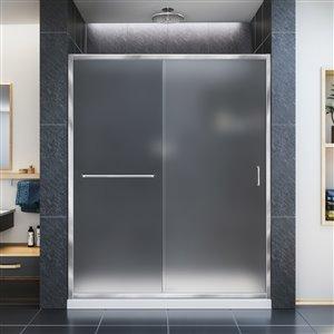 DreamLine Infinity-Z 34-in D x 60-in W x 74-3/4-in H Semi-Frameless Sliding Shower Door and SlimLine Shower Base Kit, Frosted Glass