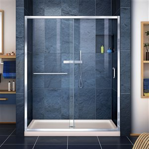DreamLine Infinity-Z 32-in D x 54-in W x 74-3/4-in H Semi-Frameless Sliding Shower Door and SlimLine Shower Base Kit, Clear Glass