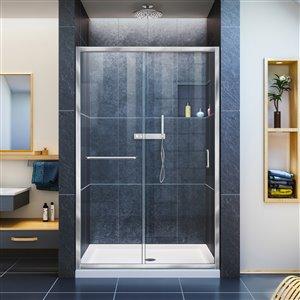 DreamLine Infinity-Z 36-in D x 48-in W x 74-3/4-in H Semi-Frameless Sliding Shower Door and SlimLine Shower Base Kit, Clear Glass