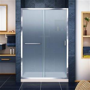 DreamLine Infinity-Z 36-in D x 48-in W x 74-3/4-in H Semi-Frameless Sliding Shower Door and SlimLine Shower Base Kit, Frosted Glass