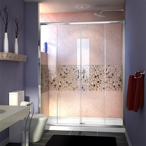 DreamLine Visions 32-in D x 60-in W x 74-3/4-in H Semi-Frameless Sliding Shower Door and SlimLine Shower Base Kit