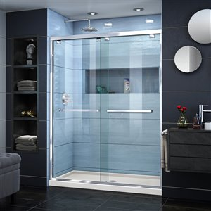 DreamLine Encore 34-in D x 60-in W x 78-3/4-in H Semi-Frameless Bypass Sliding Shower Door and SlimLine Shower Base Kit
