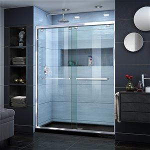 DreamLine Encore 34-in D x 60-in W x 78-3/4-in H Semi-Frameless Bypass Sliding Shower Door and SlimLine Shower Base Kit