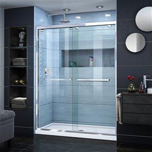 DreamLine Encore 36-in D x 60-in W x 78-3/4-in H Semi-Frameless Bypass Sliding Shower Door and SlimLine Shower Base Kit