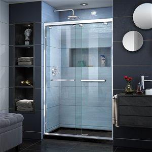 DreamLine Encore 32-in D x 48-in W x 78-3/4-in H Semi-Frameless Bypass Sliding Shower Door and SlimLine Shower Base Kit
