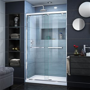 DreamLine Encore 34-in D x 48-in W x 78-3/4-in H Semi-Frameless Bypass Sliding Shower Door and SlimLine Shower Base Kit