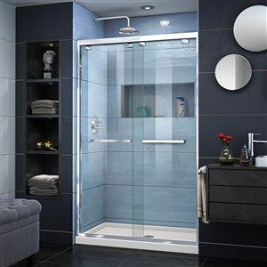 DreamLine Encore 34-in D x 48-in W x 78-3/4-in H Semi-Frameless Bypass Sliding Shower Door and SlimLine Shower Base Kit