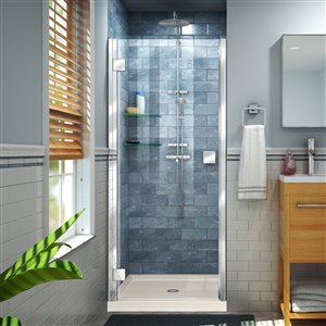 DreamLine Lumen 34-in D x 42-in W by 74-3/4-in H Hinged Shower Door and Base Kit