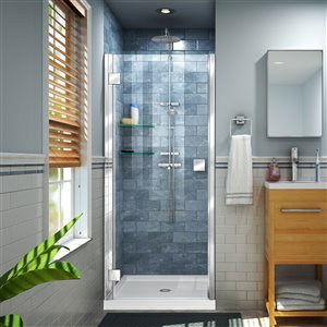 DreamLine Lumen 32-in D x 42-in W by 74-3/4-in H Hinged Shower Door and Base Kit