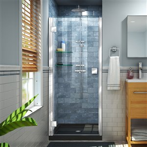 DreamLine Lumen 36-in D x 42-in W by 74-3/4-in H Hinged Shower Door and Base Kit