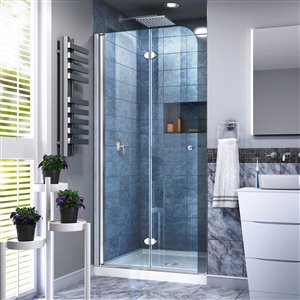DreamLine Aqua Fold 36-in D x 36-in W x 74-3/4-in H Frameless Bi-Fold Shower Door and SlimLine Shower Base Kit