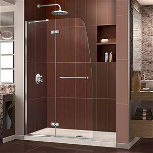 DreamLine Aqua Ultra 32-in D x 60-in W x 74-3/4-in H Frameless Hinged Shower Door and SlimLine Shower Base Kit