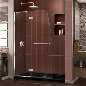 DreamLine Aqua Ultra 34-in D x 60-in W x 74-3/4-in H Frameless Hinged Shower Door and SlimLine Shower Base Kit