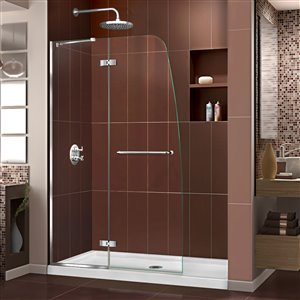 DreamLine Aqua Ultra 36-in D x 48-in W x 74-3/4-in H Frameless Hinged Shower Door and SlimLine Shower Base Kit