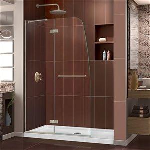 DreamLine Aqua Ultra 36-in D x 48-in W x 74-3/4-in H Frameless Hinged Shower Door and SlimLine Shower Base Kit