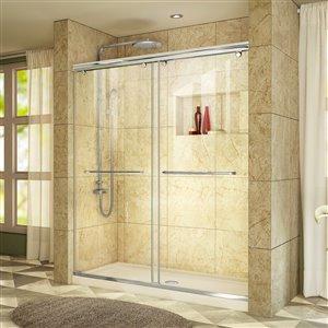 DreamLine Charisma 30-in D x 60-in W x 78-3/4-in H Frameless Bypass Sliding Shower Door and SlimLine Shower Base Kit